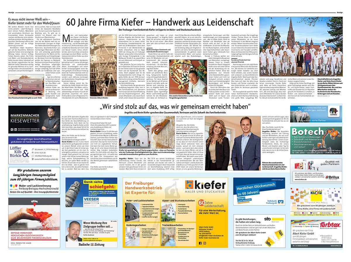 60 Jahre Albert Kiefer GmbH - Kollektivseite Badische Zeitung