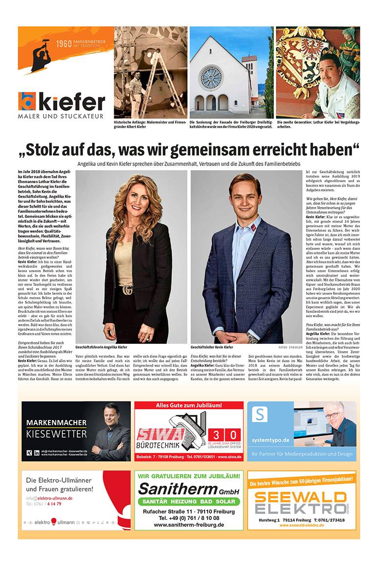 60 Jahre Albert Kiefer GmbH - Freiburger Wochenbericht 1